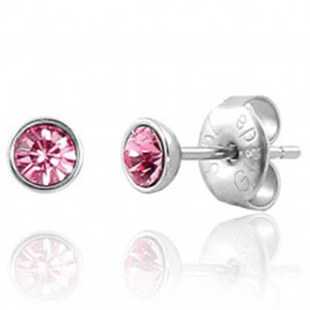 Šperky eshop Puzetové náušnice z ocele 316L - svetloružový zirkón v objímke