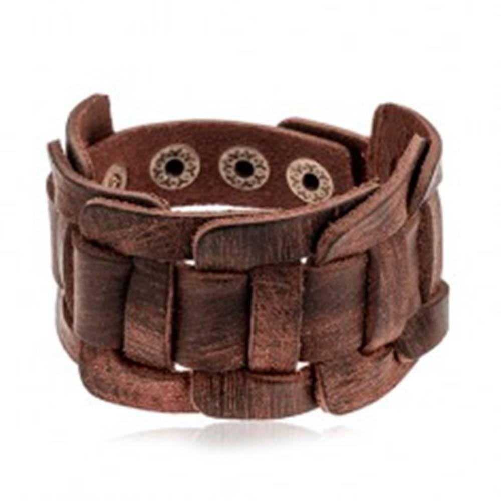 Šperky eshop Široký náramok z umelej tmavohnedej kože, pletený vzor, brúsený povrch