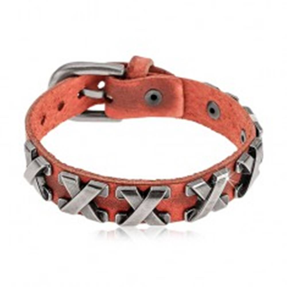 Šperky eshop Škoricovo hnedý náramok z umelej kože a ocele, krížiky striebornej farby