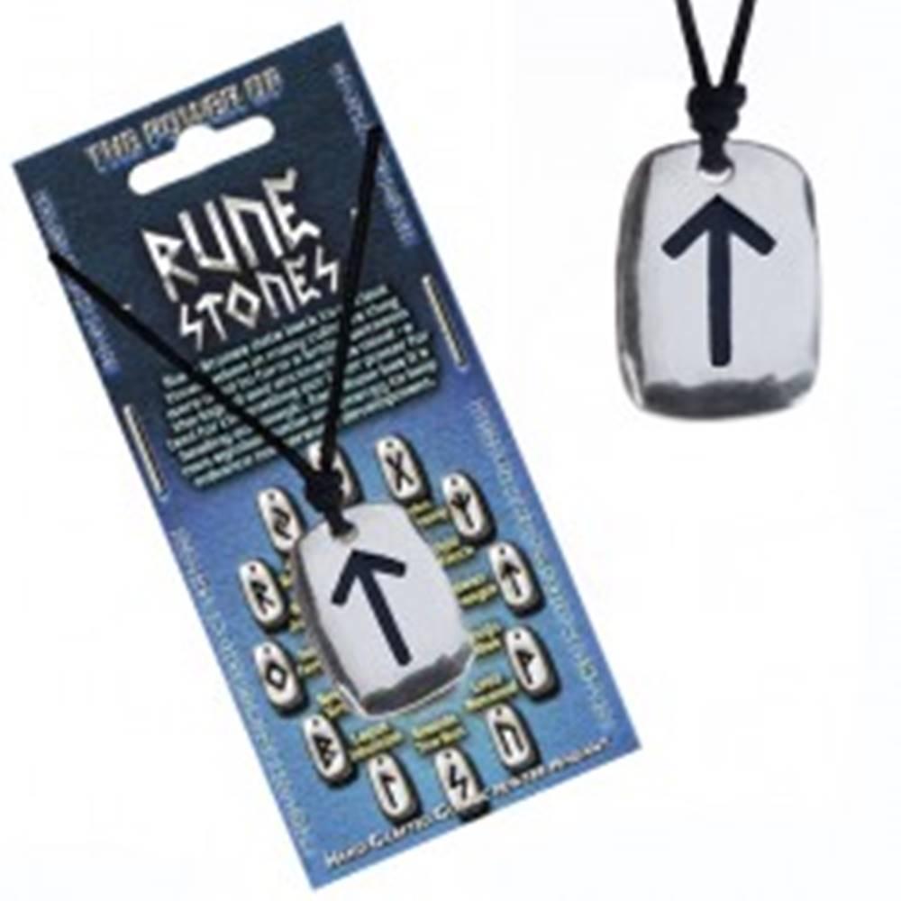"""Šperky eshop Šnúrka na krk a kovový prívesok - čierny runový znak """"sila"""""""