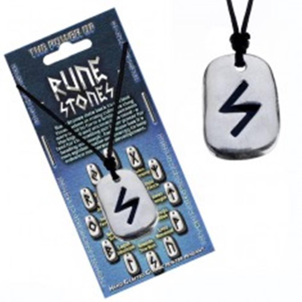 Šperky eshop Šnúrka na krk a kovový prívesok - čierny runový znak Sowulo