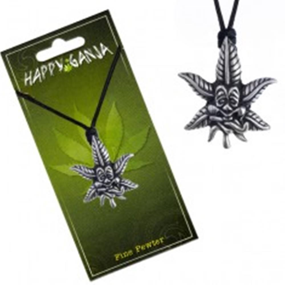 Šperky eshop Šnúrka na krk a prívesok konope, tvárička s vyplazeným jazykom