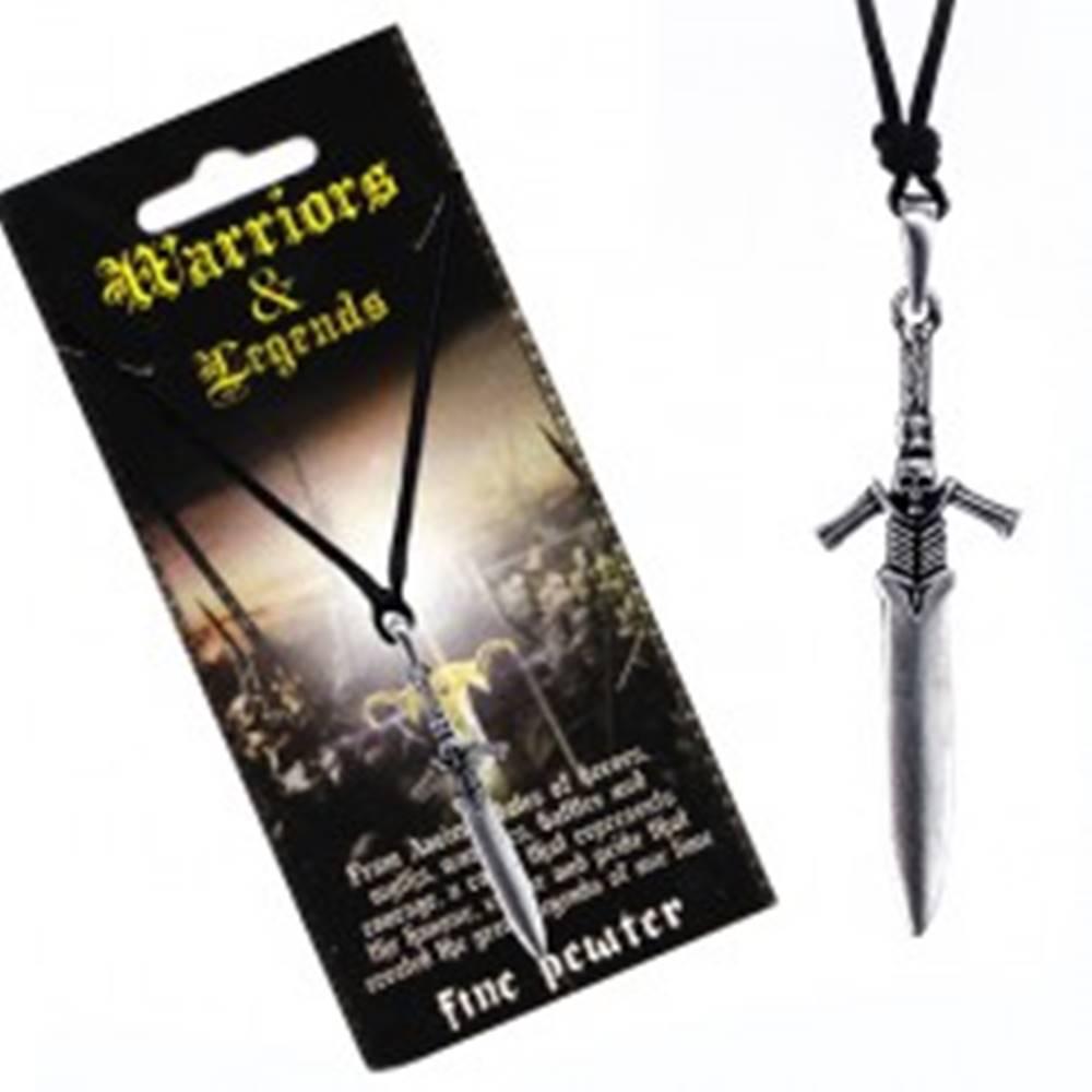 Šperky eshop Šnúrkový náhrdelník - kovový meč s rukoväťou kostlivca