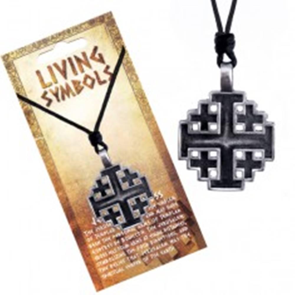 Šperky eshop Šnúrkový náhrdelník - kovový prívesok, jeruzalemský kríž