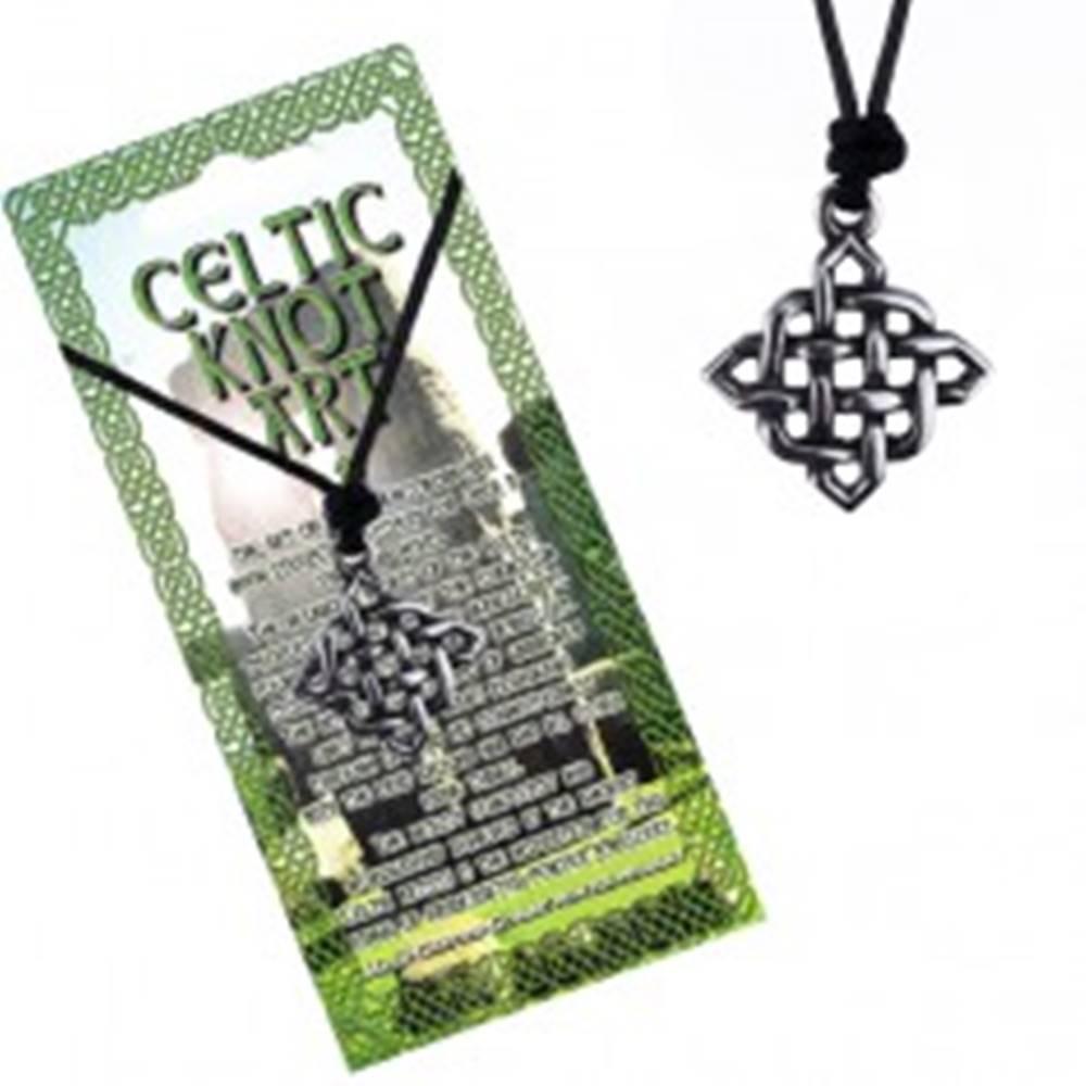 Šperky eshop Šnúrkový náhrdelník s príveskom - lesklý štvorcový keltský uzol