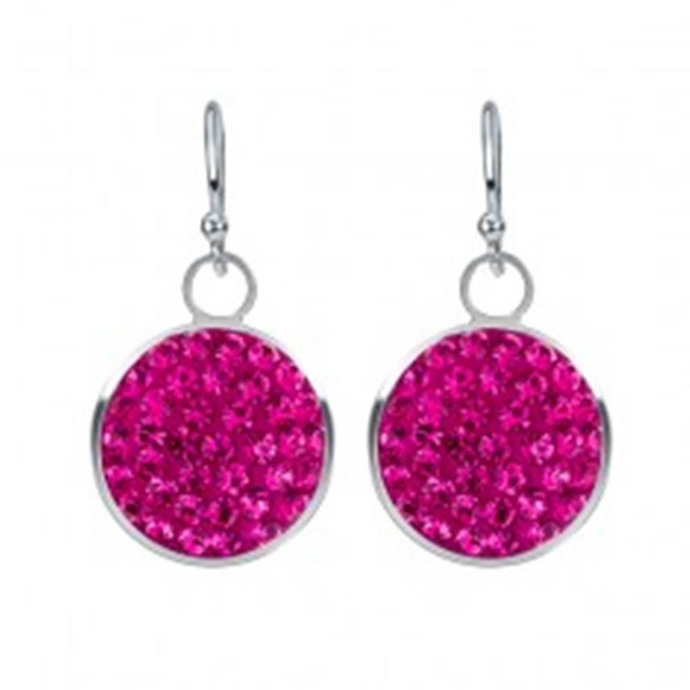 Šperky eshop Strieborné náušnice 925 - ružové zirkóny v kruhovom podklade, 11 mm