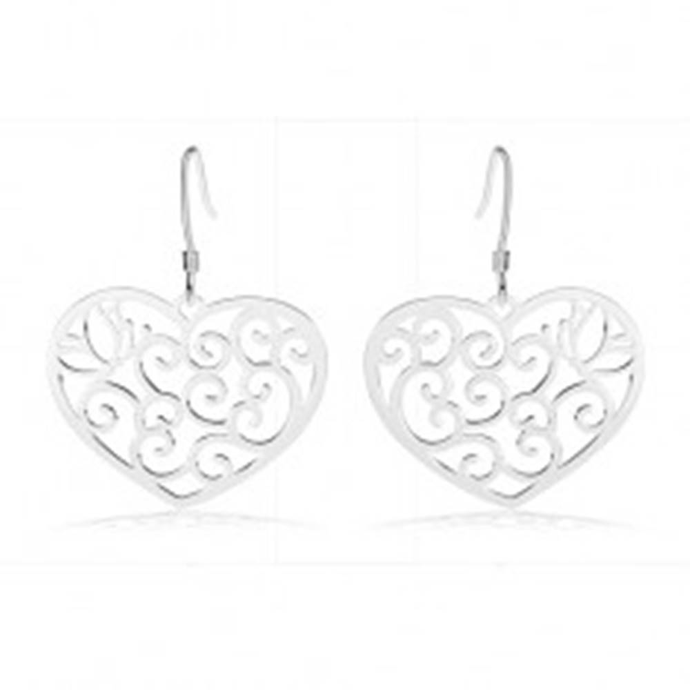 Šperky eshop Strieborné náušnice 925, srdce zdobené filigránom, obrys motýľa, špirály