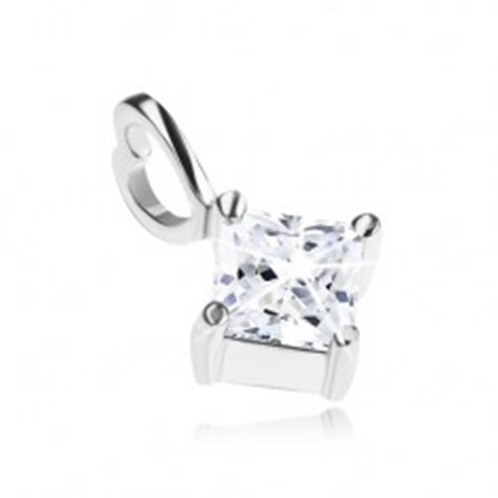 Šperky eshop Strieborný prívesok 925, číry zirkónový kosoštvorec, očko na retiazku - srdce