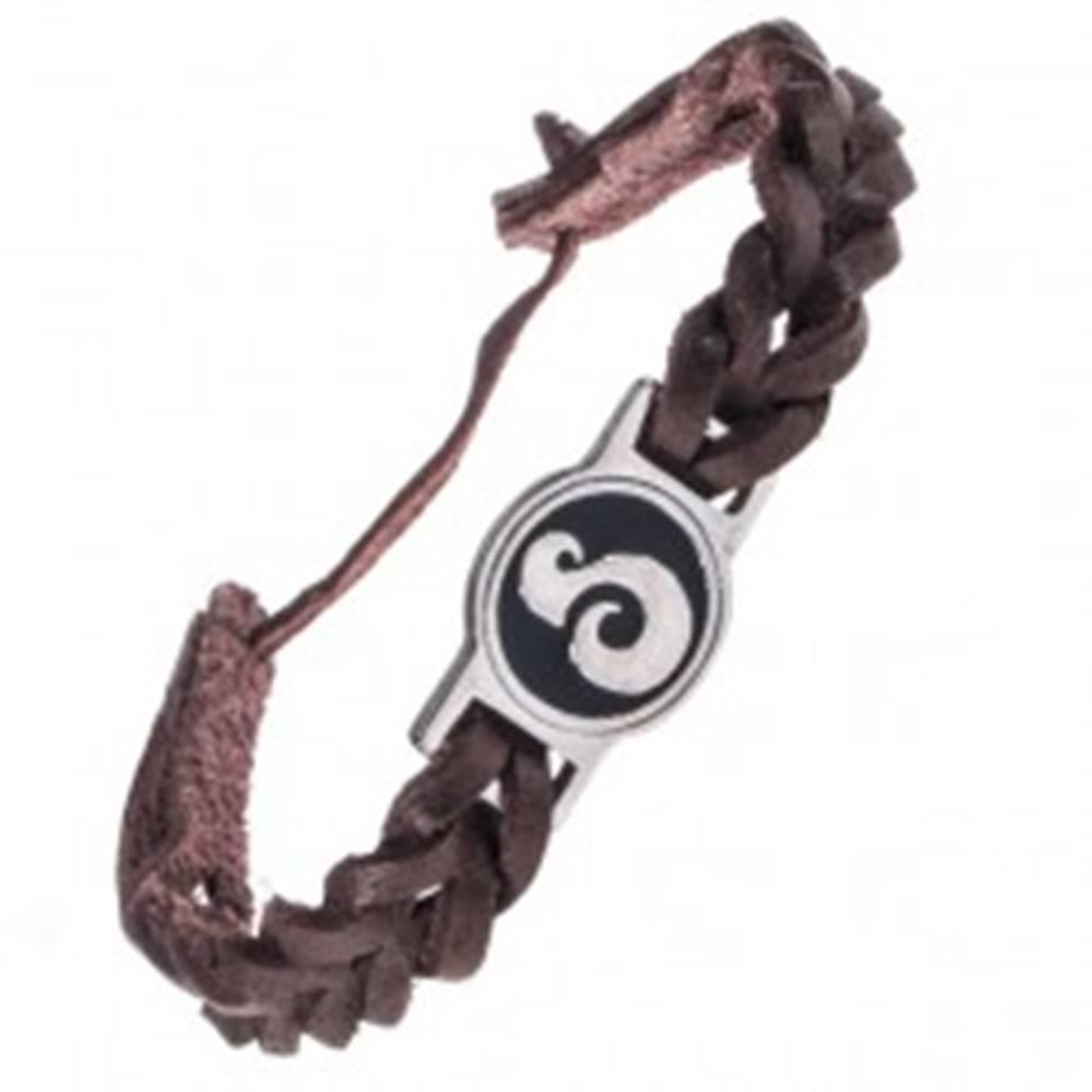 Šperky eshop Tmavohnedý kožený náramok - okrúhla známka, esovitý ornament
