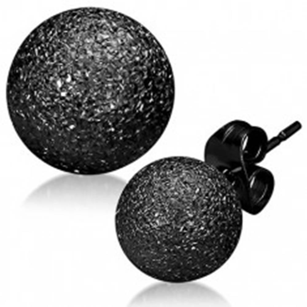 Šperky eshop Trblietavé oceľové náušnice - čierne pieskované guličky, puzetky