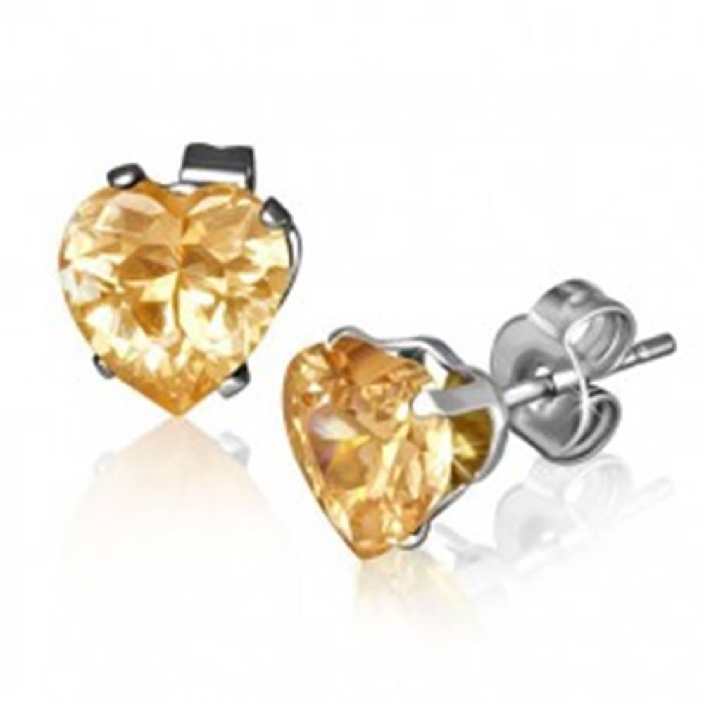 Šperky eshop Trblietavé srdiečkové náušnice z ocele, veľký žlto-oranžový zirkón