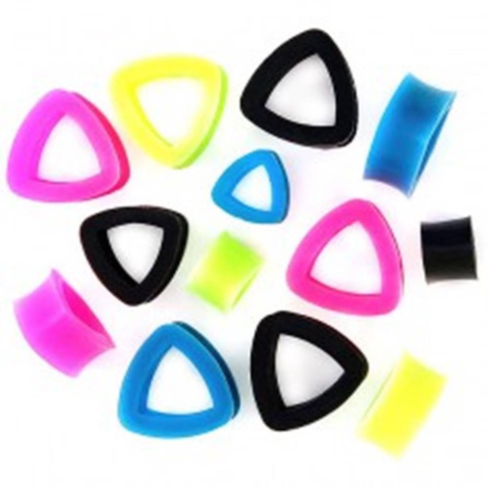 Šperky eshop Tunel do ucha - pružný dutý trojuholník - Hrúbka: 10 mm, Farba piercing: Čierna