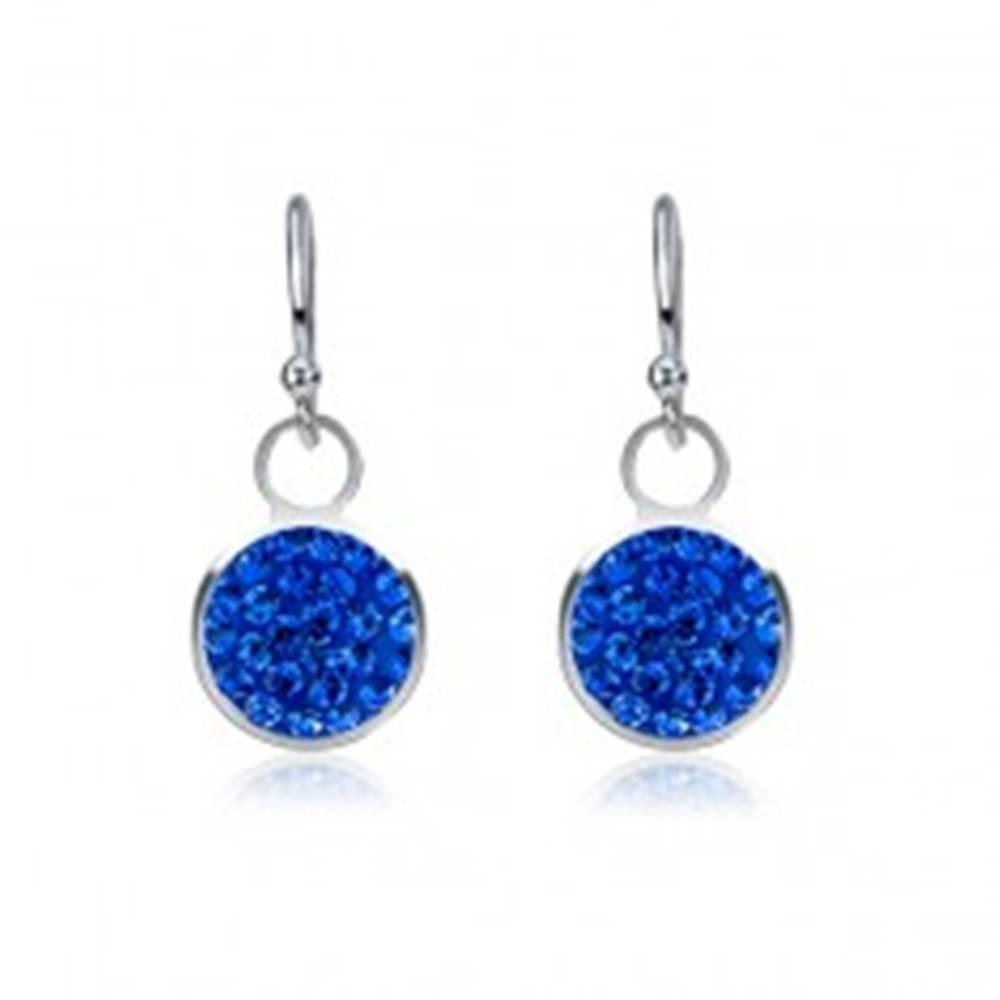 Šperky eshop Visiace náušnice zo striebra 925 - modrý zirkónový kruh, 7 mm