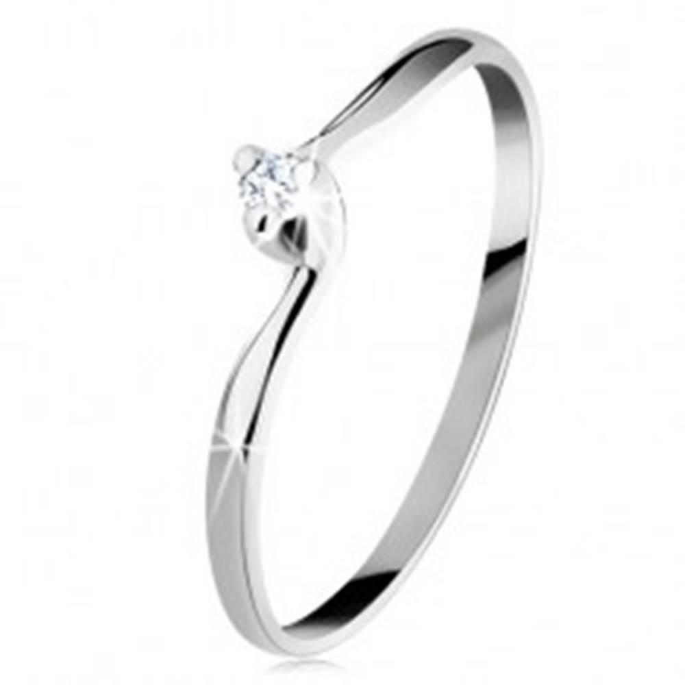 Šperky eshop Zásnubný prsteň v bielom 14K zlate - číry zirkón, úzke zahnuté ramená - Veľkosť: 48 mm