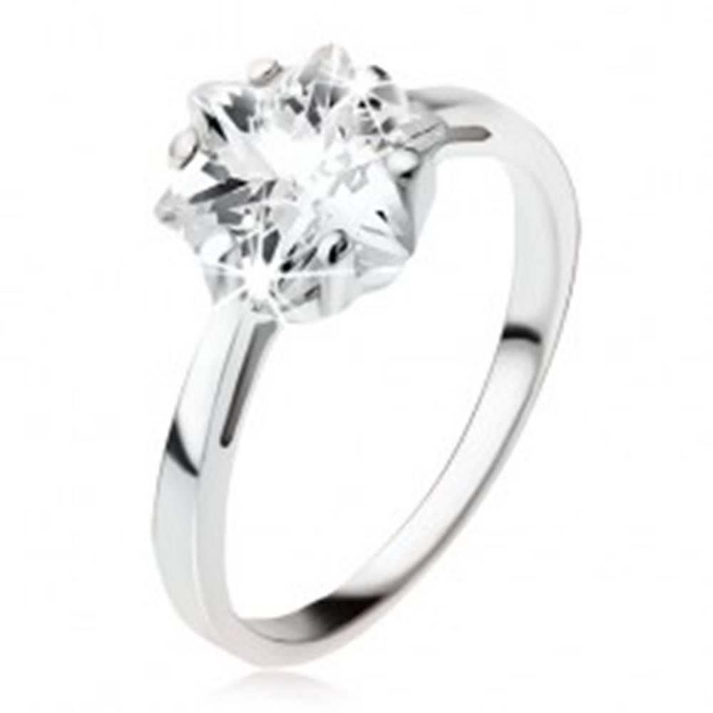 Šperky eshop Zásnubný strieborný prsteň 925, masívny číry zirkón - hviezdica - Veľkosť: 49 mm