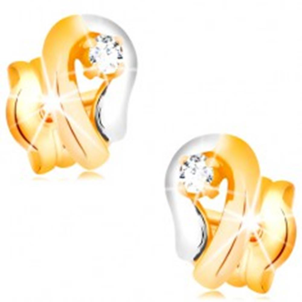 Šperky eshop Zlaté 14K náušnice, dvojfarebná kontúra kvapky so žiarivým diamantom