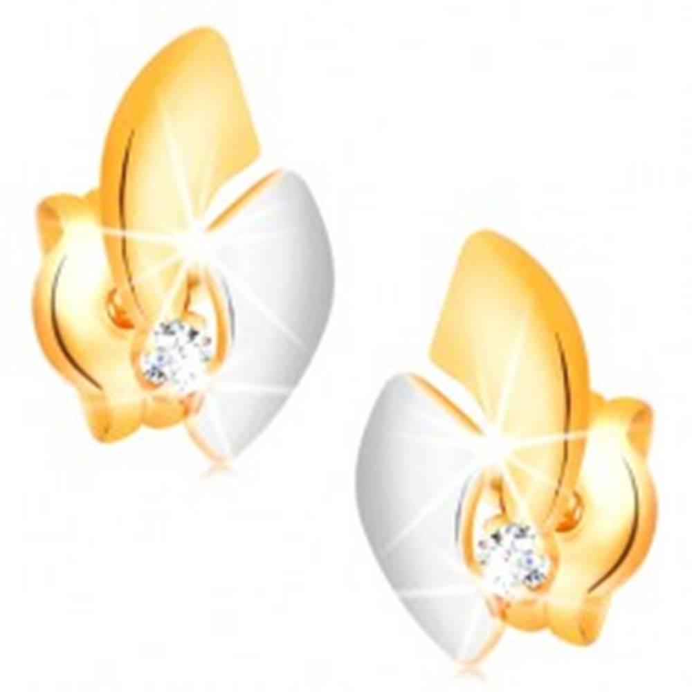 Šperky eshop Zlaté 14K náušnice s ligotavým diamantom, dvojfarebné oblúky, puzetky