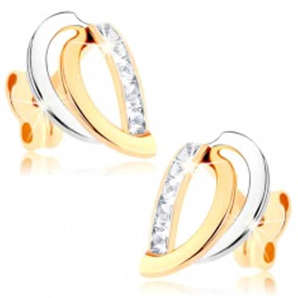 Šperky eshop Zlaté náušnice 375 - dvojfarebné oblúčiky, zvislá zirkónová línia