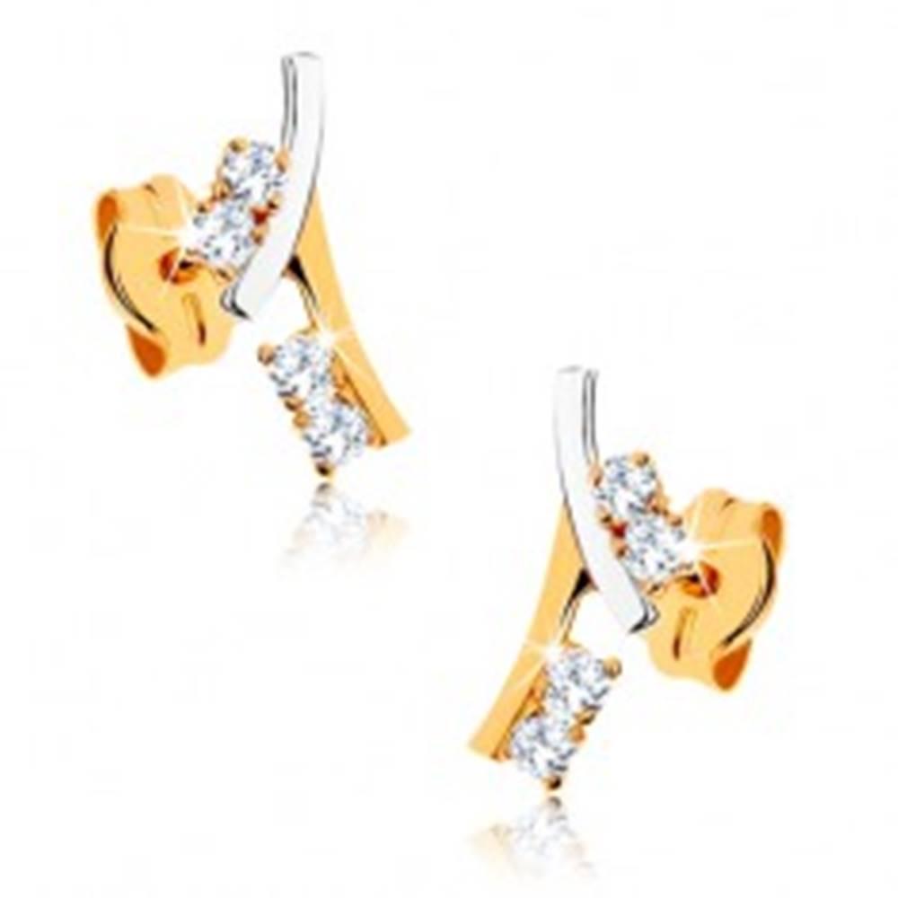 Šperky eshop Zlaté náušnice 375 - vetvička zdobená kamienkami v čírej farbe