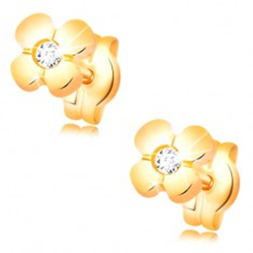 Šperky eshop Zlaté náušnice 585 - lesklý kvietok so vsadeným čírym diamantom v strede