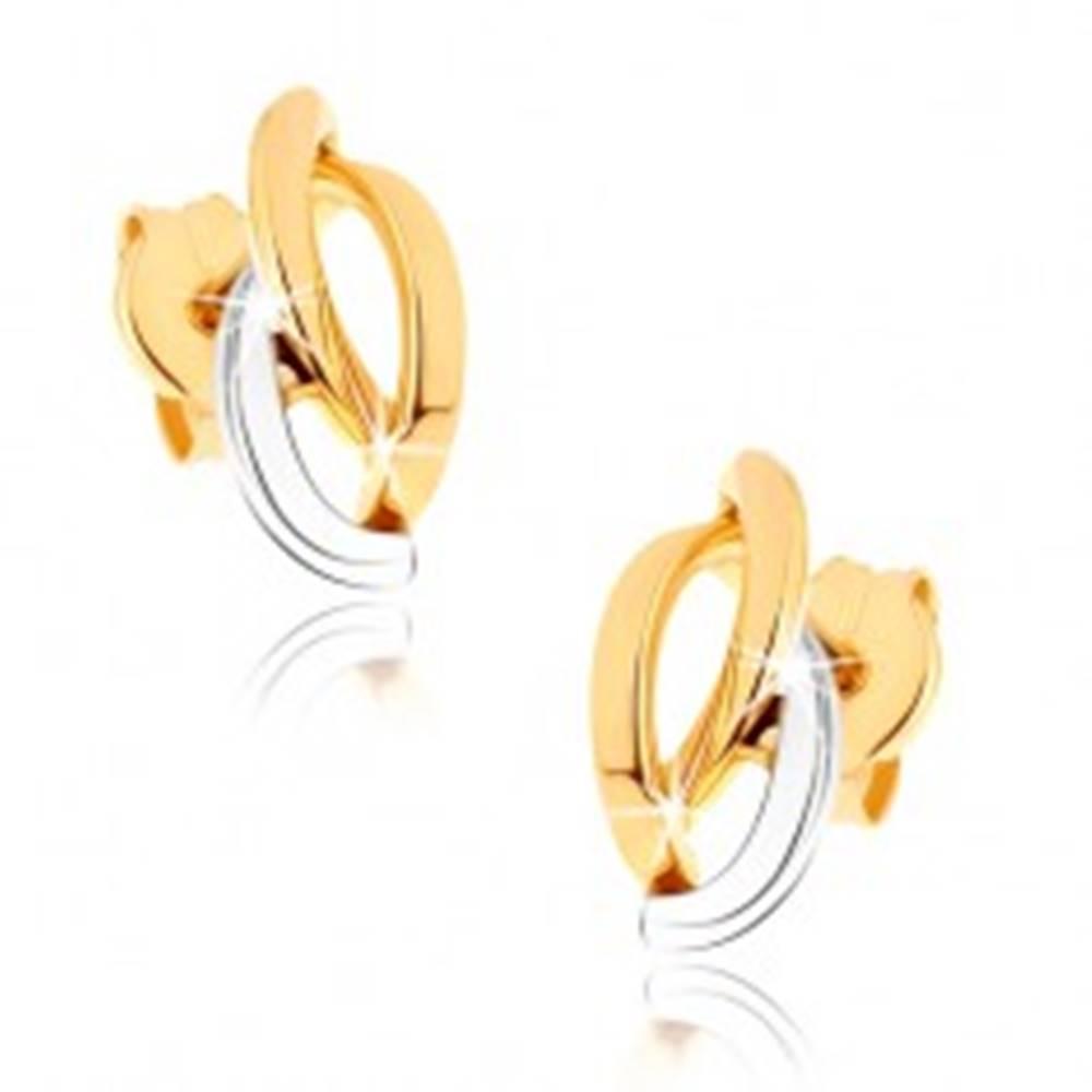 Šperky eshop Zlaté ródiované náušnice 375, tri asymetricky usporiadané poloblúky