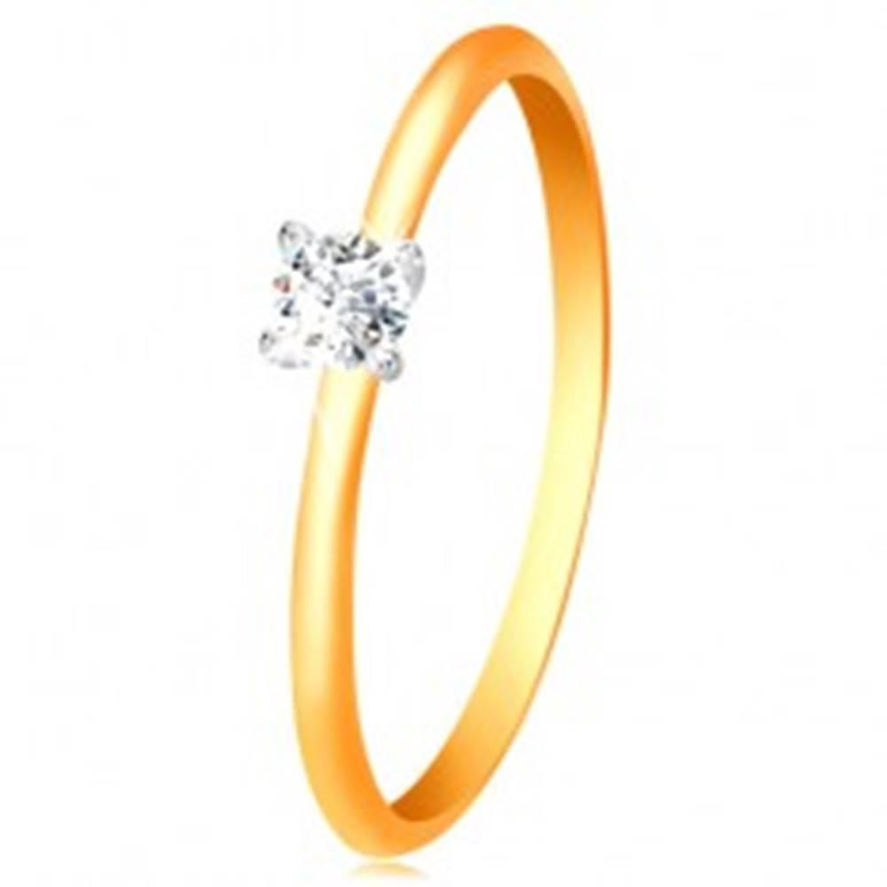 Šperky eshop Zlatý 14K prsteň - úzke vypuklé ramená, zirkón v kotlíku z bieleho zlata - Veľkosť: 50 mm