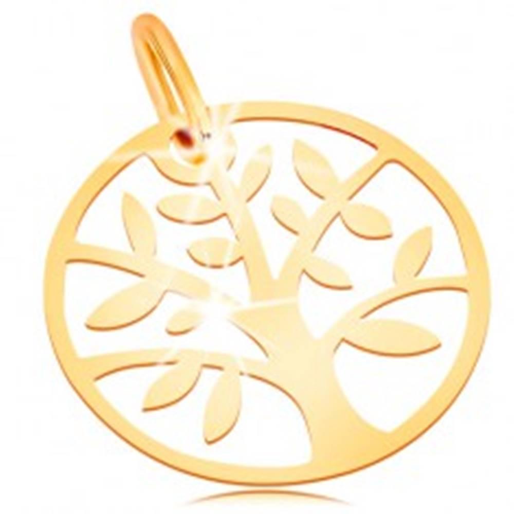 Šperky eshop Zlatý prívesok 585 - lesklý a plochý, kruh so stromom života