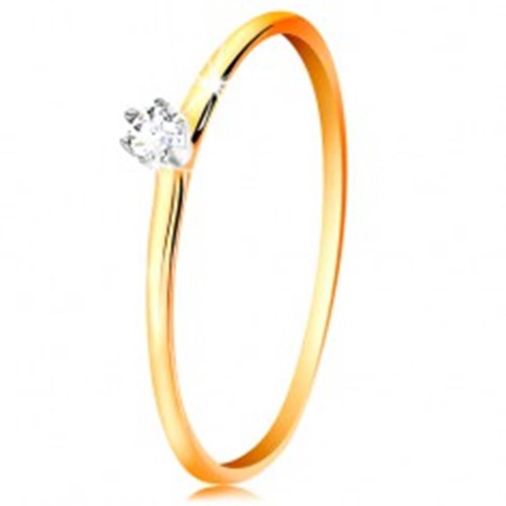 Šperky eshop Zlatý prsteň 585 - číry zirkón v kotlíku z bieleho zlata, tenké ramená - Veľkosť: 49 mm