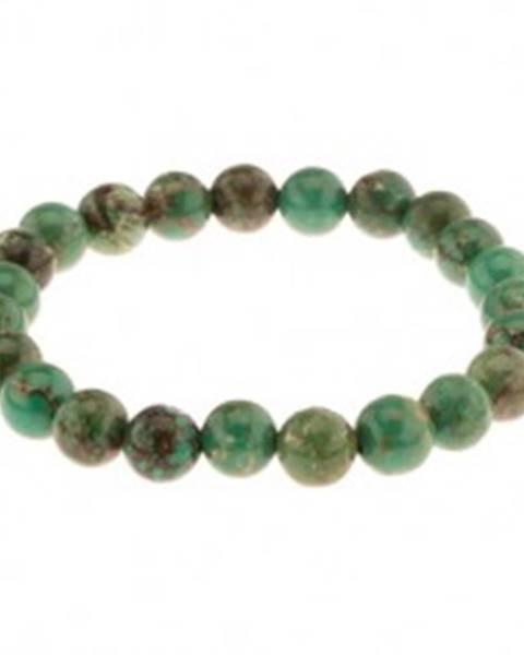 Šperky eshop Elastický náramok zo zeleného tyrkysu, guličky na pružnej gumičke