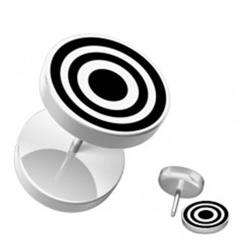 Šperky eshop Akrylový fake piercing do ucha bielej farby - sústredené kružnice - Hlavička: 10 mm