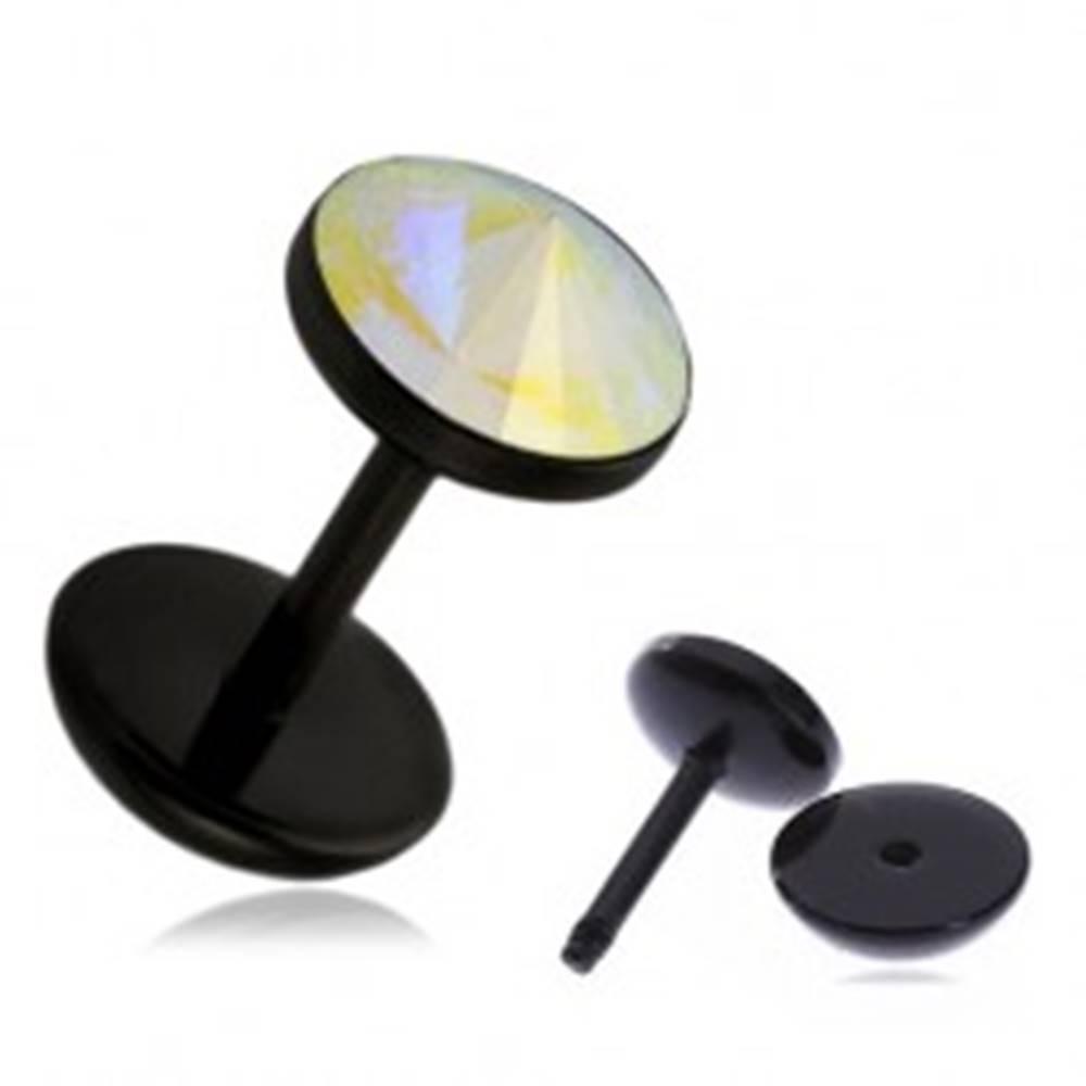 Šperky eshop Akrylový fake plug do ucha - dúhový kamienok