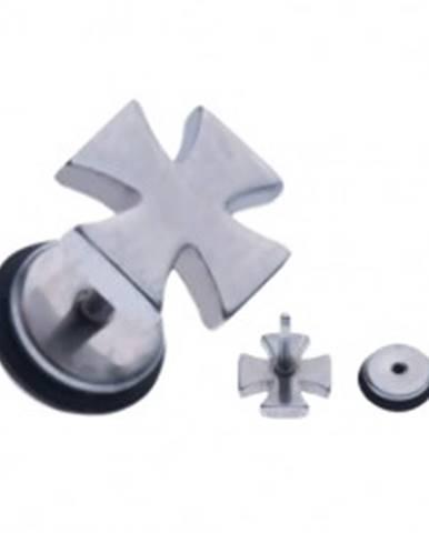 Oceľový fake piercing do ucha - maltézsky kríž striebornej farby