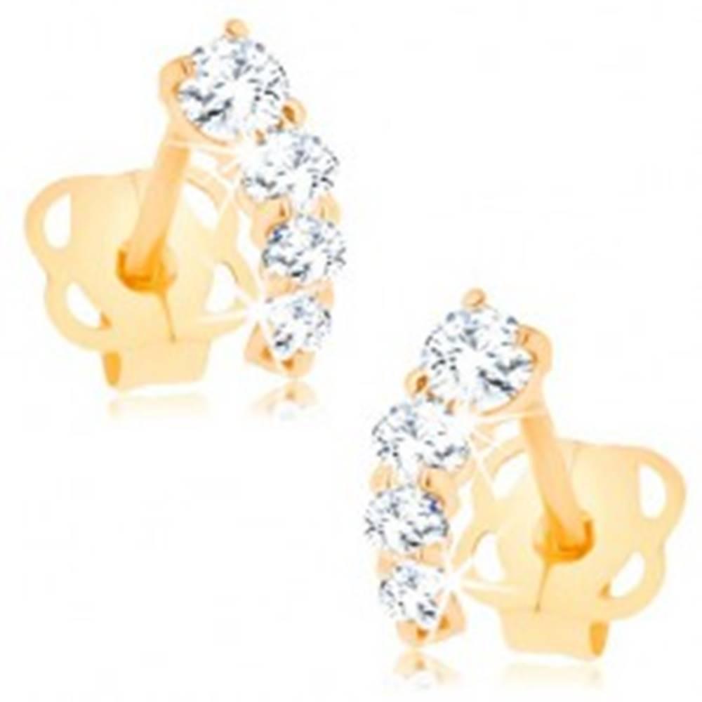Šperky eshop Briliantové zlaté náušnice 585 - trblietavý oblúčik z čírych diamantov