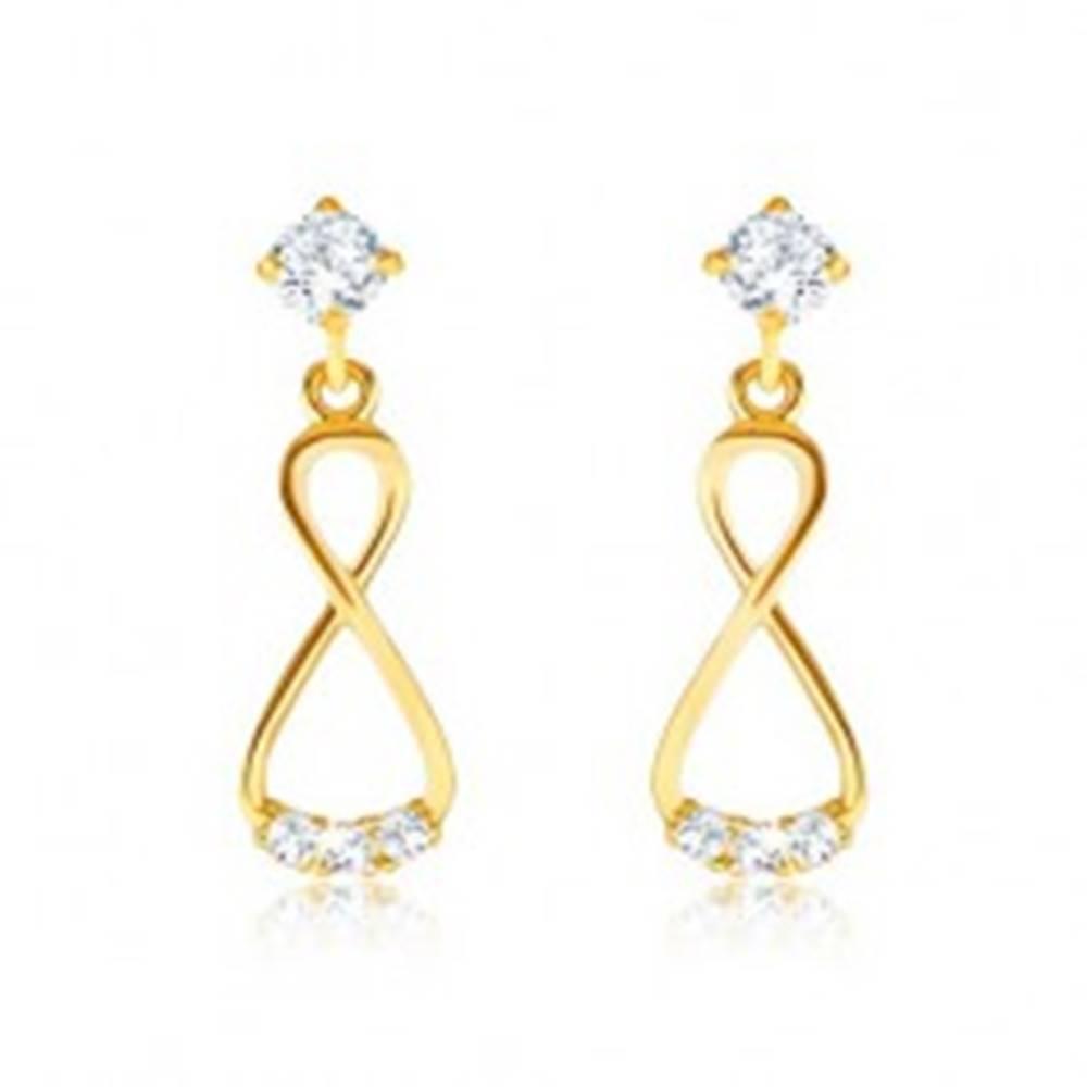 Šperky eshop Briliantové zlaté náušnice 585 - visiaca osmička, číre diamanty
