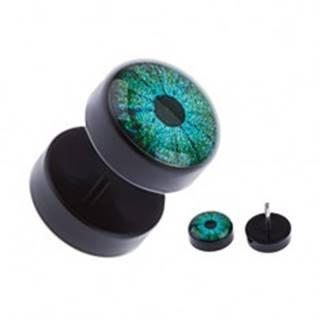 Čierny akrylový fake plug do ucha - modrozelené oko