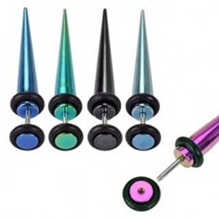 Fake expander z ocele - farebný, anodizovaný s gumičkami - Farba piercing: Čierna