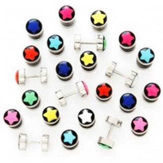 Falošný plug - čierne pozadie, farebná hviezda - Farba piercing: Biela