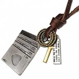 Kožený náhrdelník - hracie karty, kríž, obrúčky, známka z kovu