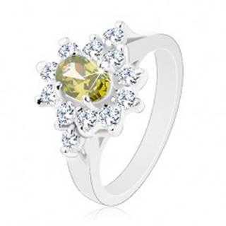 Ligotavý prsteň, oválny zirkón zelenej farby s čírym obrysom - Veľkosť: 57 mm
