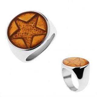Mohutný prsteň z chirurgickej ocele, päťcípa hviezda trblietavej zlatej farby - Veľkosť: 57 mm