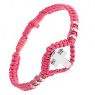 Náramok z ružovej tkaniny, ozdobné kolieska a kríž z ocele 304L