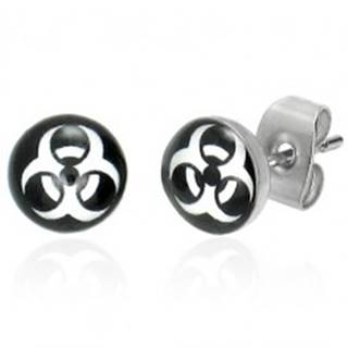 Náušnice z ocele - okrúhle, symbol BIOHAZARD