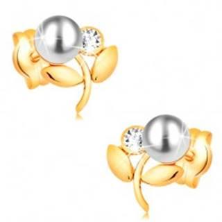 Náušnice zo žltého 14K zlata - kvietok s bielou perlou a čírym zirkónom
