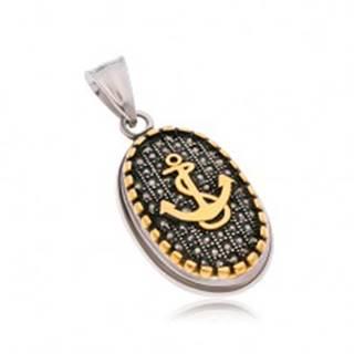 Oceľový prívesok, ovál s čiernymi zirkónmi, okrajom a kotvou zlatej farby