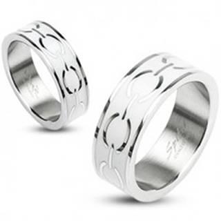Oceľový prsteň - biely stred s elipsami - Veľkosť: 48 mm