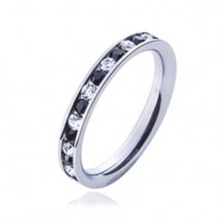 Oceľový prsteň - číre a čierne kamienky - Veľkosť: 49 mm