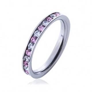 Oceľový prsteň s kamienkami ružovej a čírej farby - Veľkosť: 49 mm