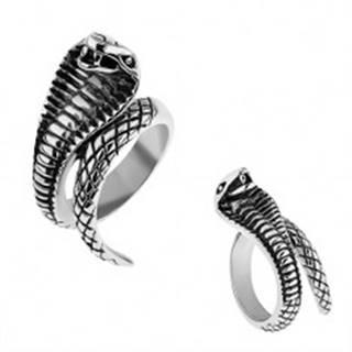 Oceľový prsteň striebornej farby, vypuklá patinovaná kobra - Veľkosť: 57 mm