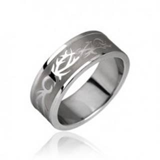 Oceľový prsteň - tribal motív - Veľkosť: 49 mm