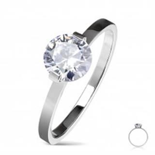 Oceľový zásnubný prsteň striebornej farby, okrúhly číry zirkón, lesklé ramená - Veľkosť: 50 mm